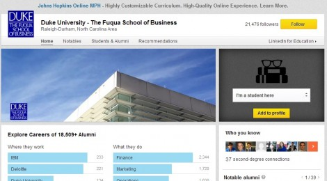 Searching for 'the right' school through LinkedIn