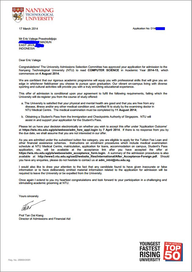 University Conditional Acceptance Letter Sample