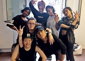 Posing with dance crew before the big performance