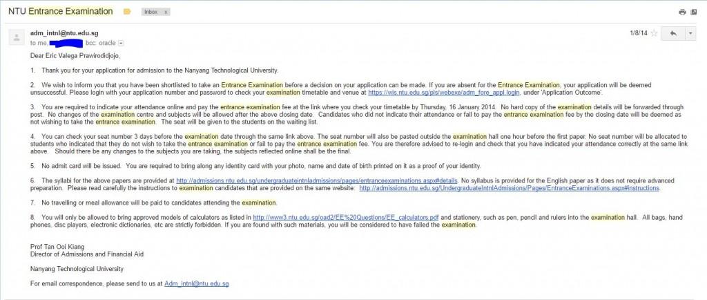 Undangan untuk mengikuti ujian masuk NTU