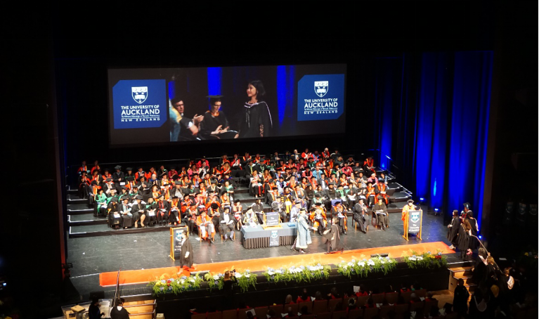 Photo taken when author was honoured with her degree on stage.