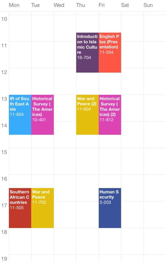 Class Schedule Fall Semester Waseda University