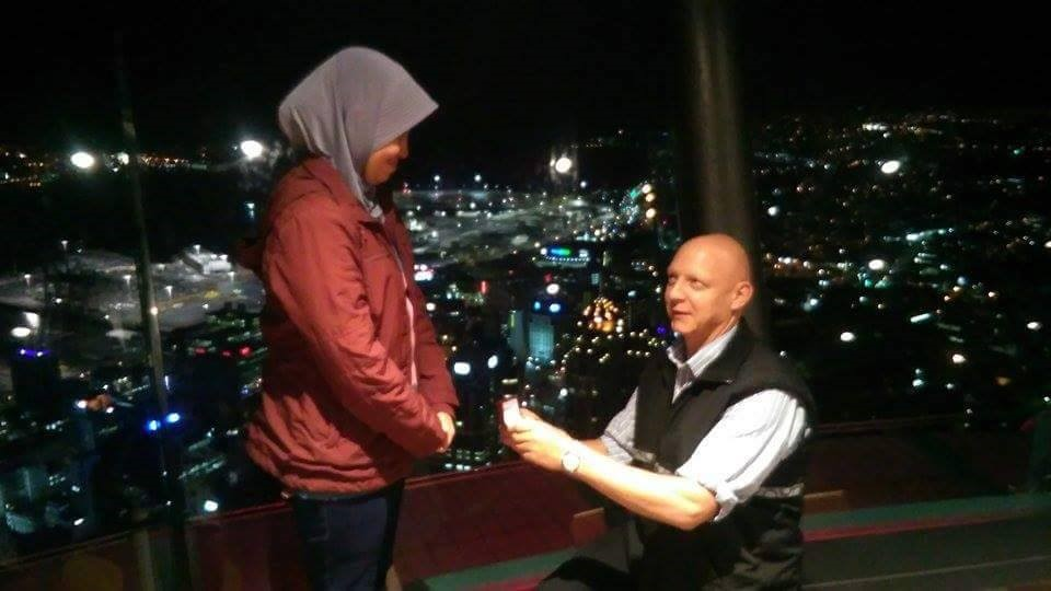 The marriage proposal at the top of Sky Tower, Auckland