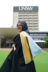 Author in her graduation gown and hood