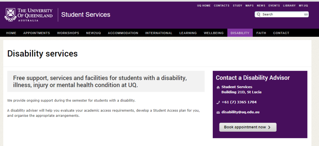 The University of Queensland's website page on disability services