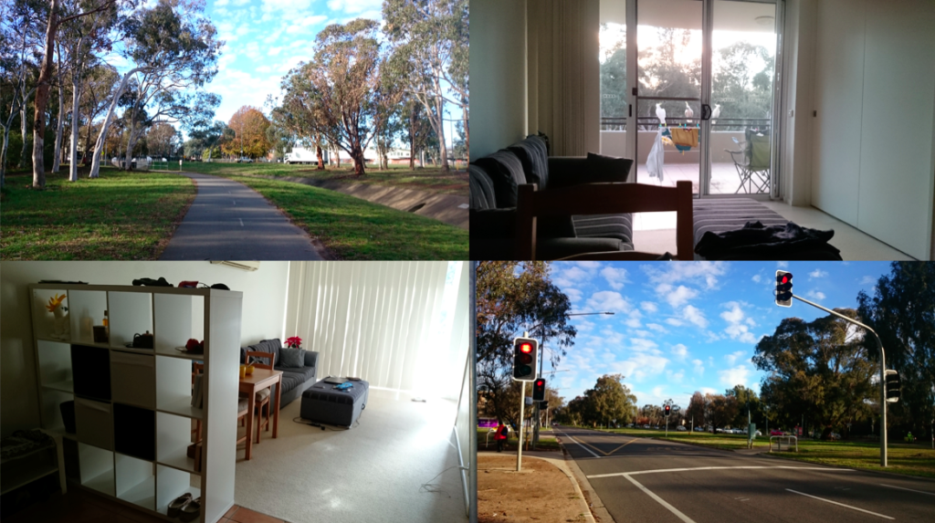 A photo collage of off-campus accommodation