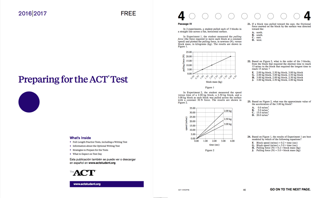A sample of the free ACT Practice Test (courtesy of the ACT)