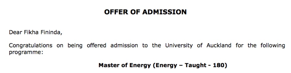 Letter of Acceptance dari University of Auckland yang diterima oleh Fikha Fininda