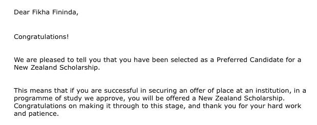 Email yang diterima Fikha FIninda ketika ia terpilih menjadi Preferred Candidate NZAS