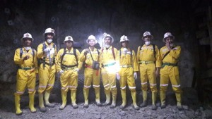 Author and his workmates during work visit into a gold tunnel at Pongkor Gold Mine, West Java, Indonesia