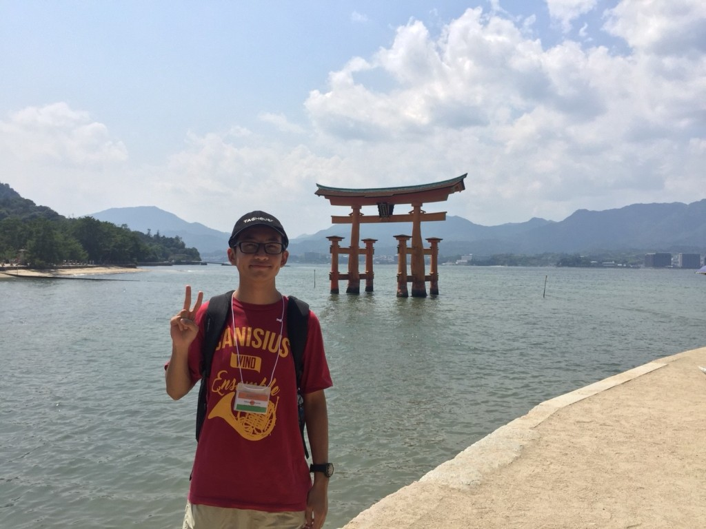 In front of Itsukushima Shrine, Miyajima island