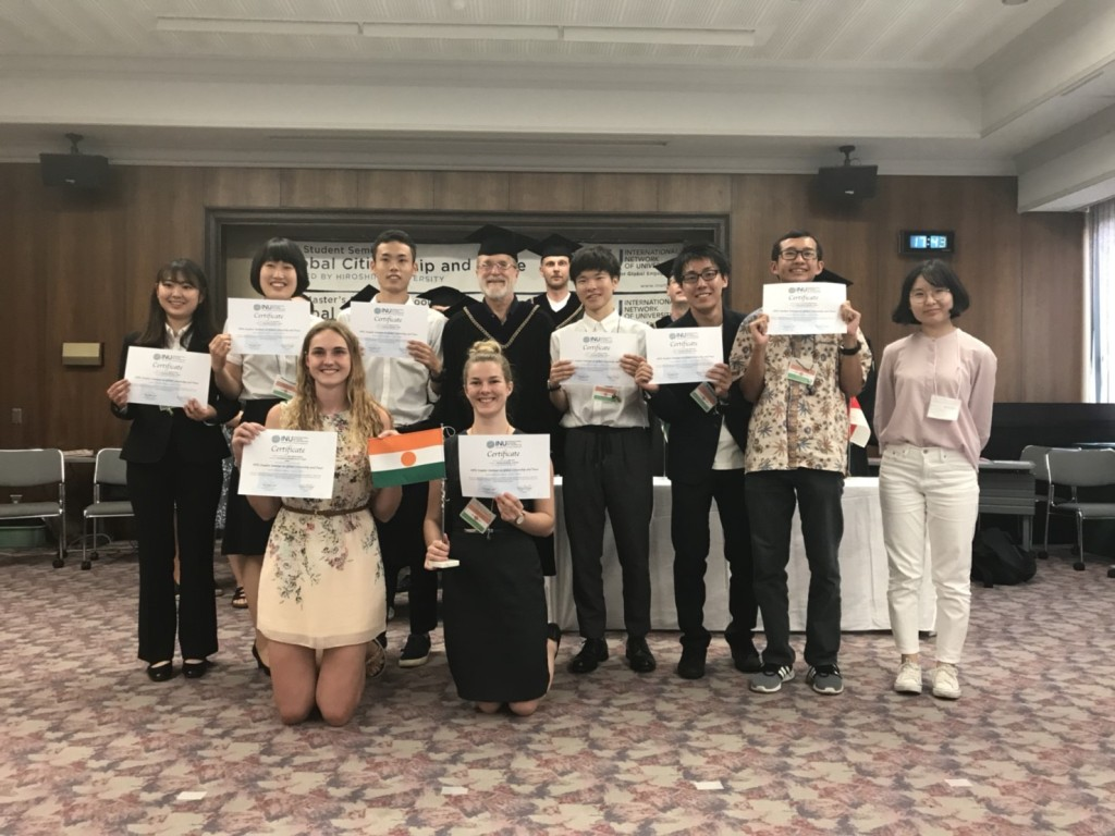 My Niger country group received certificates marking the end of the INU Student Seminar (Picture from Sichen Meng / Hiroshima University)