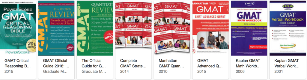 Several examples of GMAT preparation books that can cost up to US$100 each. Prepare your wallet! (Photo from Google Image)