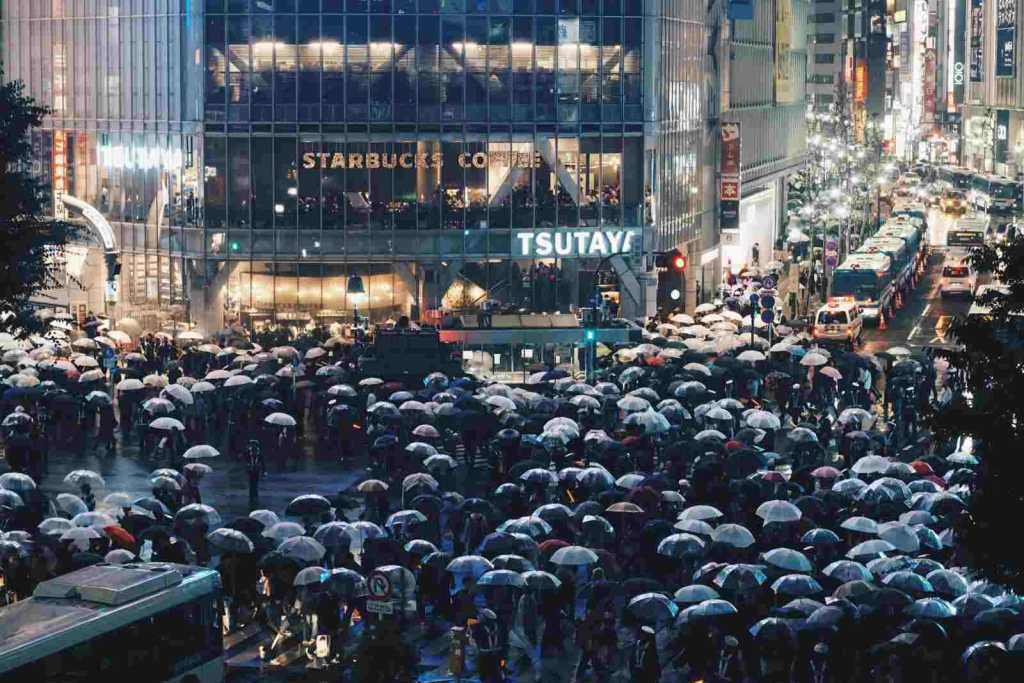 Crowded Street in Shibuya Tokyo