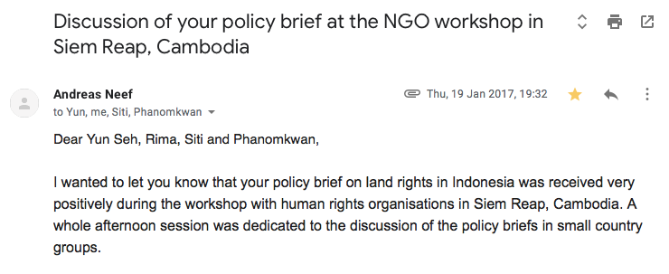 An email from the author's lecturer regarding the follow up of the policy brief we did for our assignment
