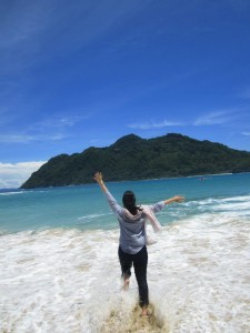 Couldn't resist running into the clear water of Lampuuk Beach in Aceh