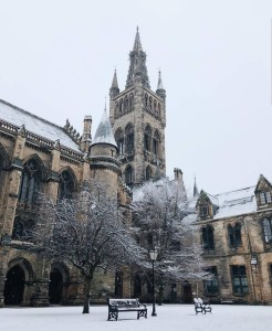 Hogwarts, nay -- University of Glasgow, in winter. Photo by author.