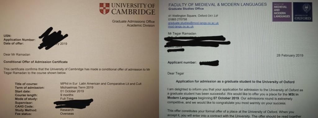 Acceptance email Tegar dari dua universitas yang ia dambakan