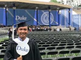 at Duke's graduation ceremnony