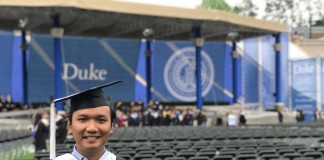 at Duke's graduation ceremnony