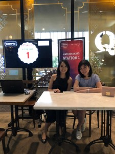 With my colleague during a speed dating event where we met several startups looking for funding and listened to their pitch for ten minutes -- yes, like an actual speed dating. Photo by Author.