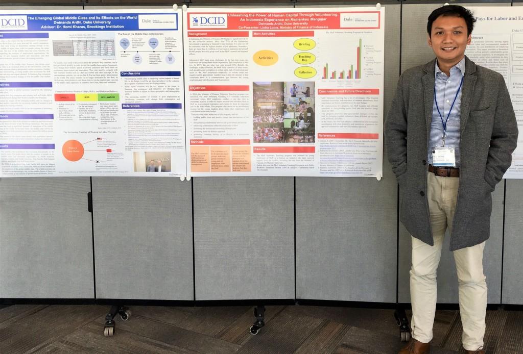 Mempresentasikan poster dalam sebuahkonferensi di kampus