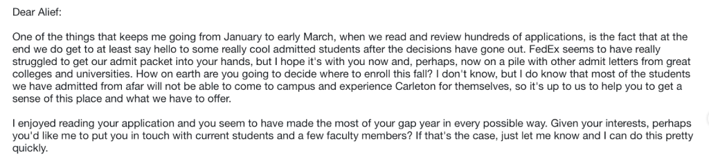 Acceptance from Carleton