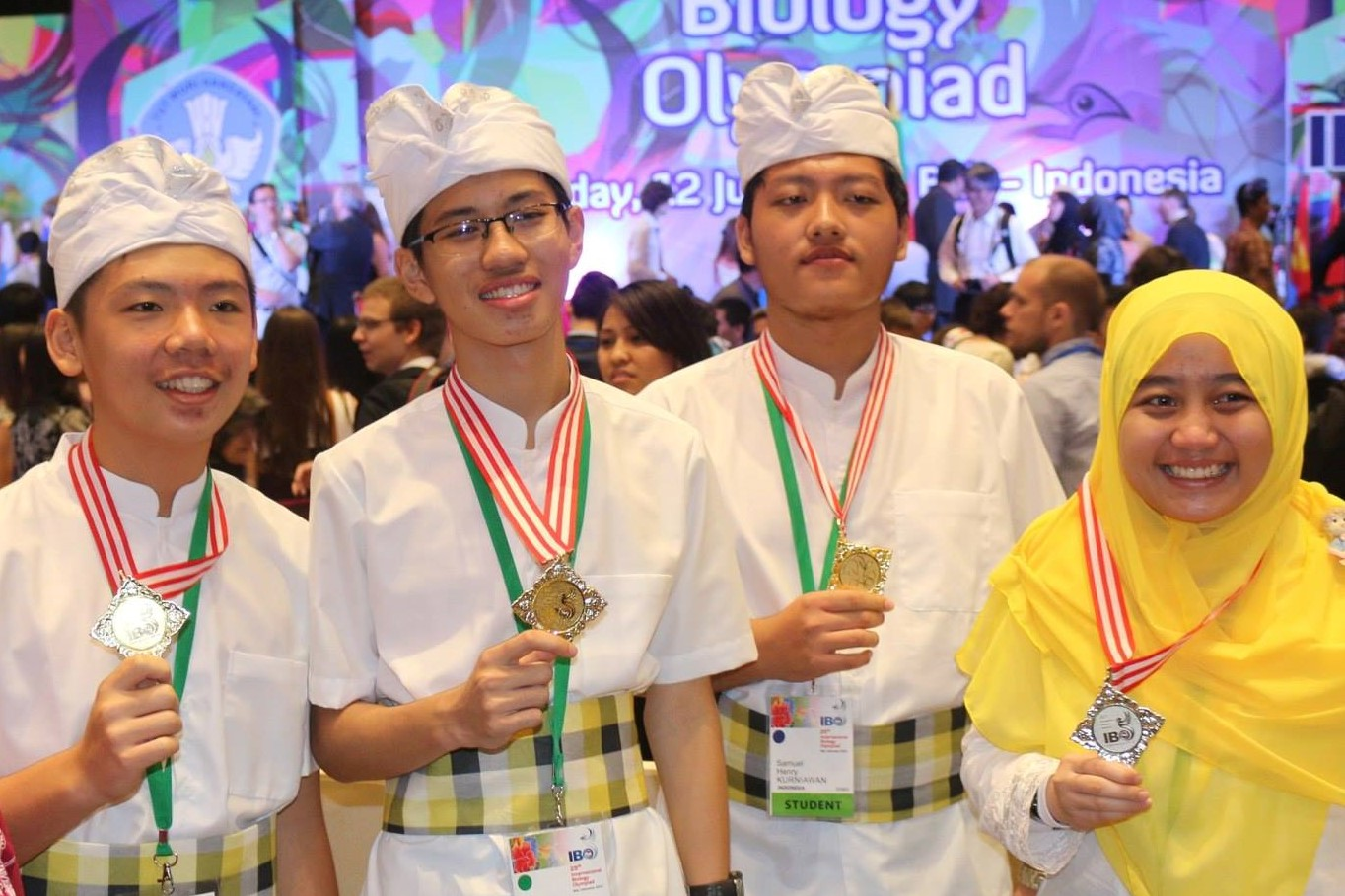 Indonesian delegates at the International Biology Olympiad 2014 award ceremony