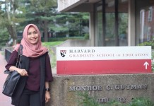 Indah by the Harvard Graduate School of Education sign