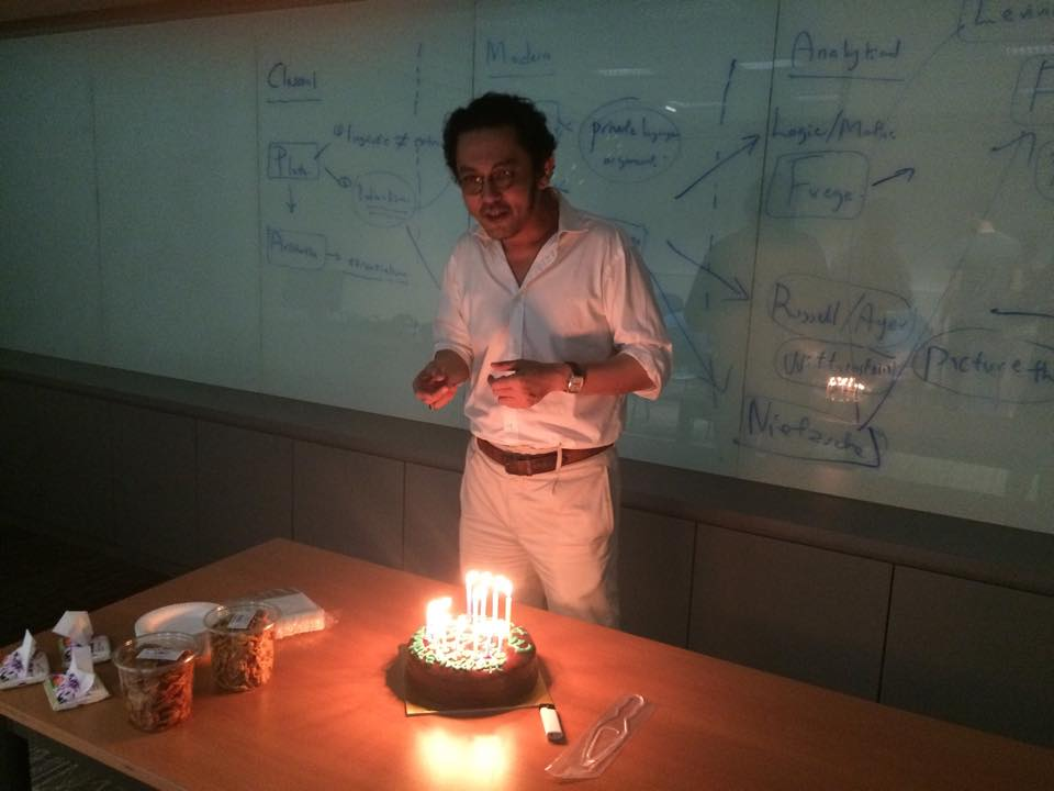 RSIS courses are intensive and often have small number of students, making the relationship between students and professors quite close. Here, we surprised one of our professors during his birthday.