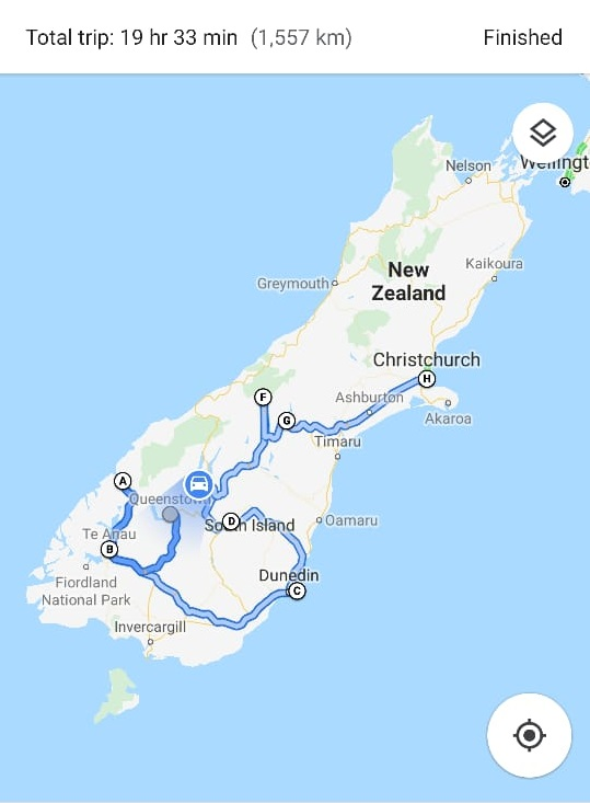 New Zealand's South Island route
