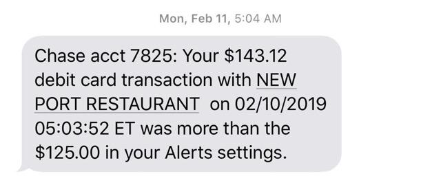 Chase Mobile Alert Setting. I put $125 as my maximum amount of transaction