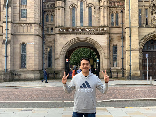 Nugra in front of the University of Manchester