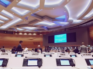 Menghadiri diskusi tematik UN Global Compact on Refugees ketika magang di UNICEF HQ di Swiss