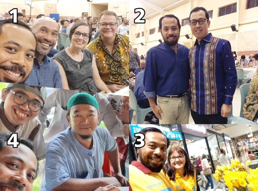 1. Bersama para penggiat Bahasa Indonesia dari University of Queensland (UQ), 2 Bersama Konsul Jenderal RI dalam kesempatan fundraising 3 Menjadi relawan Daffodil Day di DFO Brisbane 4 Sehabis shalat Jumat dengan Komunitas Indonesia di Logan Lea, Queensland
