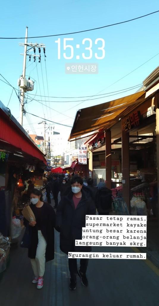 Unggahan Instastory penulis pada hari Minggu (22/02) di Pasar Inheon, Nakseongdae masih di distrik yang sama dengan asrama Seoul National University. Sumber: Instagram/@qobulsyah