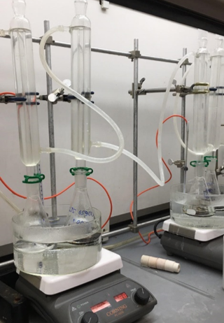 A glimpse of Audrey's work as a research assistant. These are some bio-plasticizer samples prepared for titration to determine their characteristics.