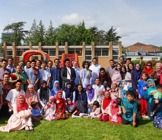 Indonesian students gathered after Eid prayer and celebration in Southampton, UK