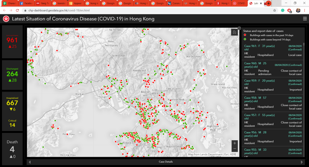 Geodatabase of Centre for Health Protection. Source: Hong Kong Sar Department of Health