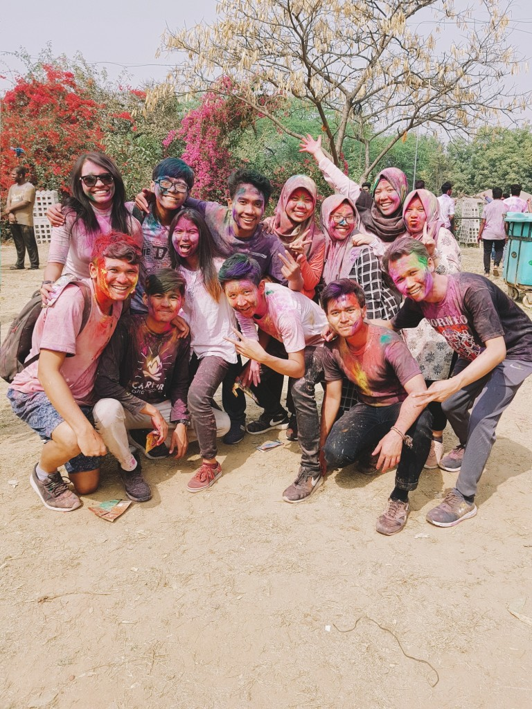 Celebrating Holi in the capital city of the Delhi with fellow Indonesian interns.