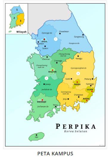 Peta Persebaran Mahasiswa Indonesia di Korea Selatan (Sumber: Perpika)