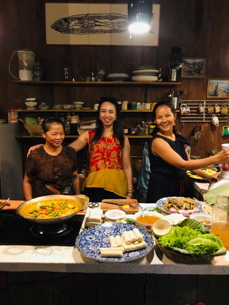 Learning about Cambodian cooking with Maya and her mother. Maya is the founder of Maya's Village, a local sustainable hospitality business (Source: Author).