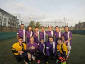 Indonesian Khairul Ikhwan with his football mates during his time at the University of Manchester, UK