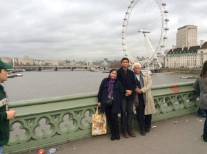 Indonesian Khairul Ikhwan with his visiting parents in London, UK