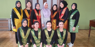 Jeannette Zes and fellow Indonesians performing Ratoh Jaroe, an Indonesian traditional dance from Aceh, at a cultural festival in Manchester, UK, March 2020
