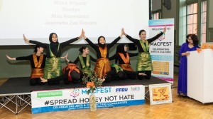 Jeannette Zes and fellow Indonesians performing Ratoh Jaroe, an Indonesian traditional dance from Aceh, during a cultural festival in Manchester, March 2020