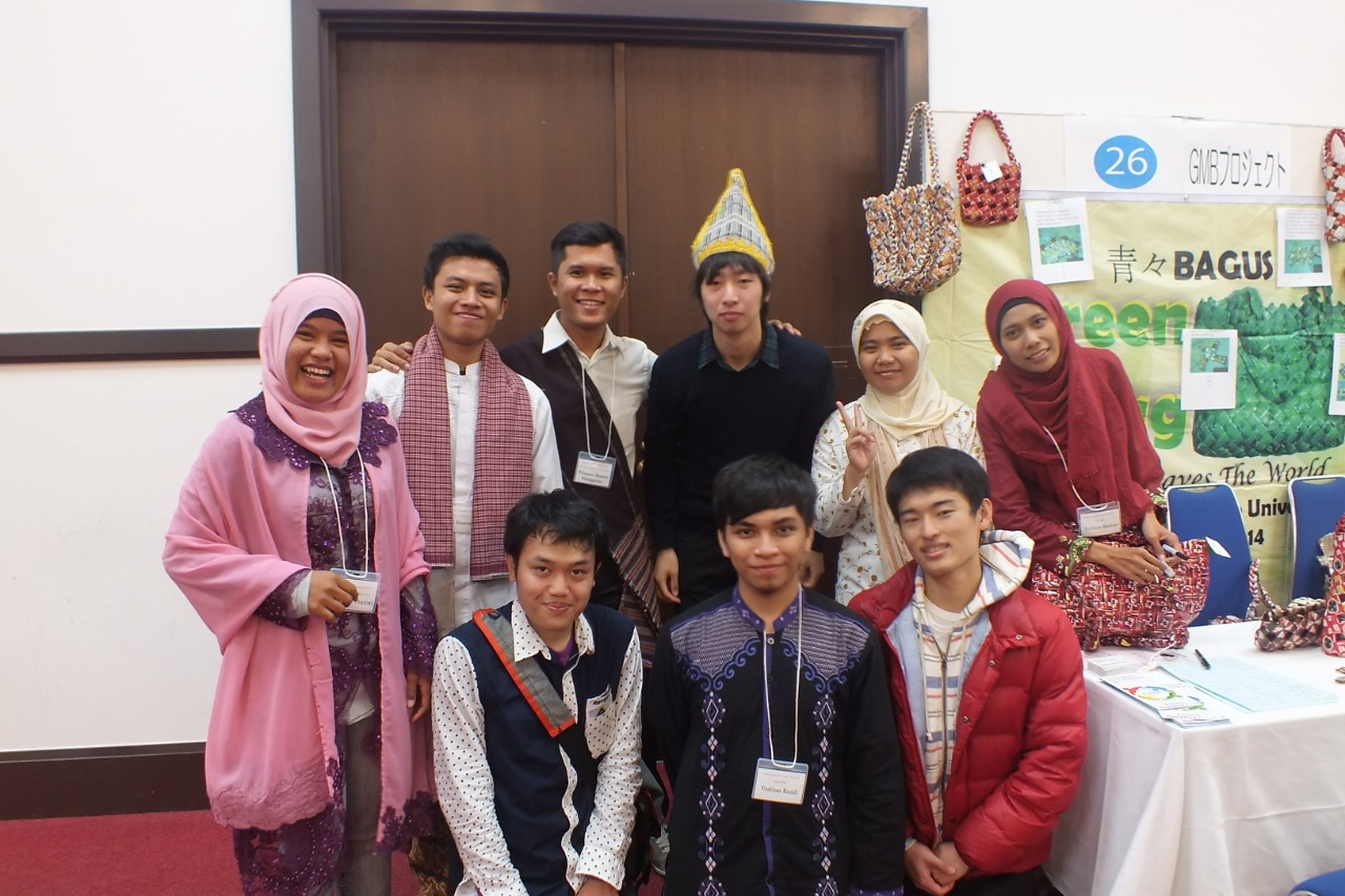 Arnald, back second from the left, and his Indonesian and Japanese fellows showcasing Indonesian products of recycled goods at the Enterprise Trade Festival in Kyoto, Japan