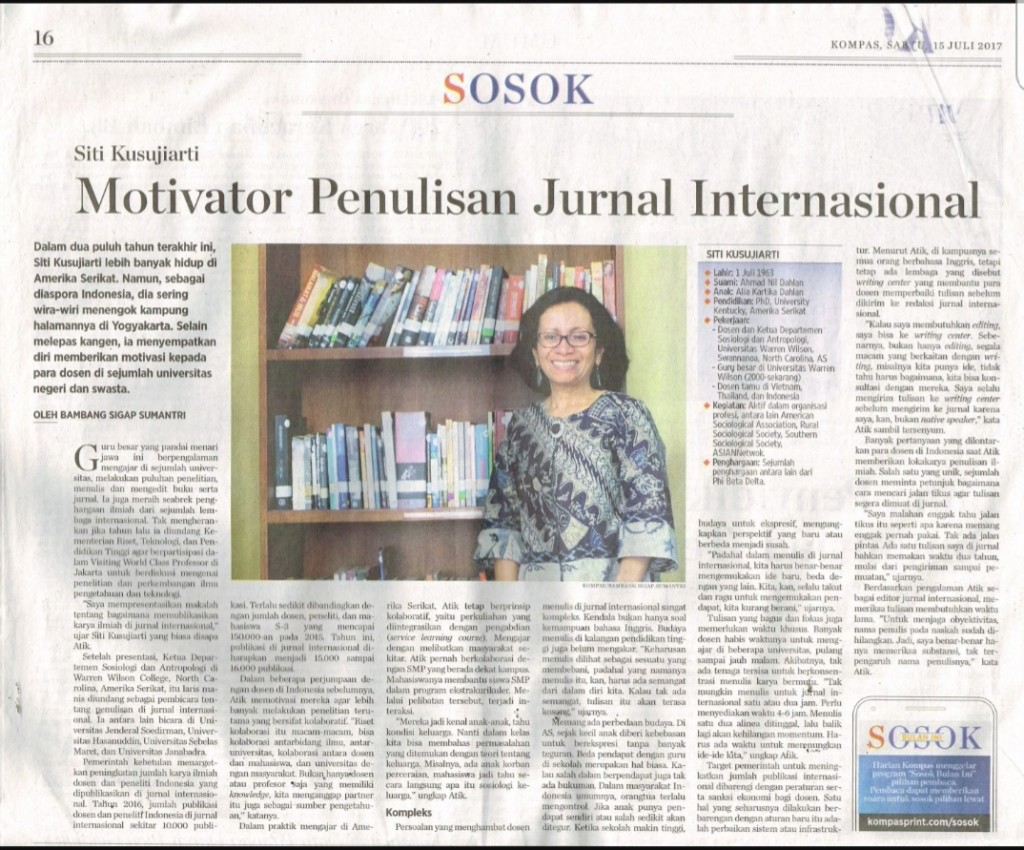 Professor Siti was featured in Kompas Newspaper in 2017.