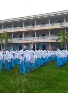 Students attending the flag ceremony.