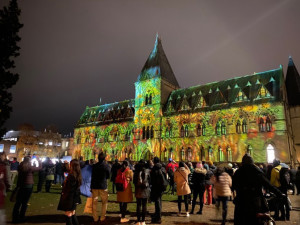One of many unique things Naila experienced during her time in Oxford: light show outside the Pitt Rivers Museum